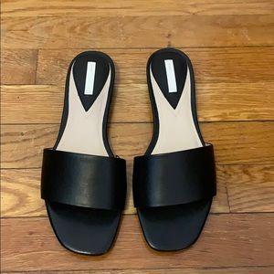 H&M premium black leather slides